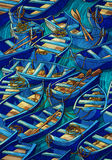 Boat pattern. Blue boats on the river Royalty Free Stock Photography