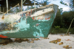 Boat people-dugouts in Negril, Jamaica Stock Images