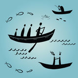 Boat people, ethnics, fishing. People floating in boats, ethnics, fishing Royalty Free Stock Photos