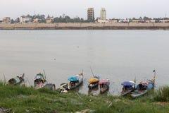Boat people at Mekong river Stock Photos