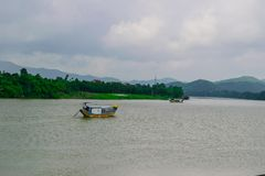 Boat at Perfume River (Song Huong) near Hue, Vietnam. Royalty Free Stock Photography