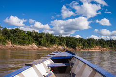 Boat in the peruvian rainforrest Stock Photography