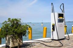 Boat petrol station in Venice Stock Photo