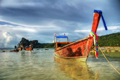 Boat on phi phi beach. Thai boat on a Phi Phi Island beach. Relaxing and nice picture Stock Image