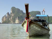 Boat at Phi Phi beach. Boat at touristic Phi Phi island in Thailand Stock Photo