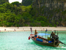 Boat at Phi Phi Island in Thailand Royalty Free Stock Photos