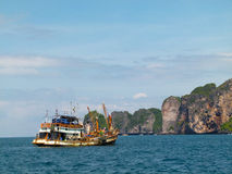 Boat at Phi Phi Island in Thailand Stock Image