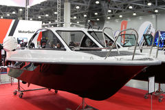 Boat Phoenix 530 HT in the exhibition Crocus Expo in Moscow. Stock Photos