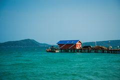 Boat pier on asian island Royalty Free Stock Images
