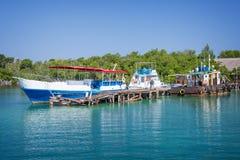 Boat pier at Cayo Levisa island Cuba Royalty Free Stock Photography