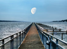 Boat pier and moon Royalty Free Stock Photography