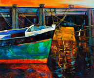 Boat and pier. Original oil painting of boat and jetty(pier) on canvas.Sunset over ocean.Modern Impressionism Stock Image