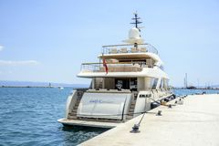 Boat on the pier in the resort town of Split, Croatia. Stock Photo
