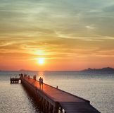 Boat pier at sunset Royalty Free Stock Photos
