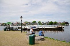Boat pier and houses of the Zaanse Schans, Netherlands Royalty Free Stock Photography