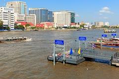 Boat piers in Chao Phraya River, Bangkok, Thailand. Royalty Free Stock Images