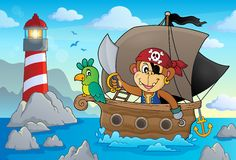 Boat with pirate monkey theme 2 Royalty Free Stock Images