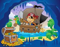 Boat with pirate monkey theme 4 Stock Images