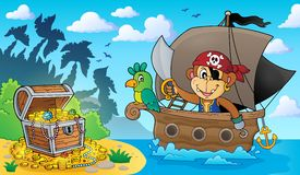 Boat with pirate monkey theme 3 Stock Images