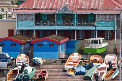 Boat place in Dominica, Caribbean. Port with private fishing boats in Dominica, Caribbean Royalty Free Stock Images