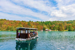 Boat on Plitvice lake royalty free stock image