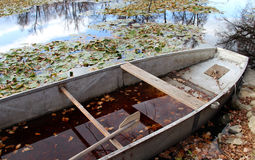 Boat and pond in the autumn forest. Vivid cover of leaves and boat in the autumn park Stock Photography