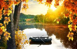 Boat in the pond Royalty Free Stock Photography