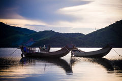 Boat on the pond. Boat on the Lap An pond, Hue, Vietnam Stock Photo
