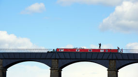 Boat on Pontcysylllte aquaduct in Wales Royalty Free Stock Images