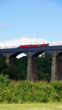 Boat on Pontcysylllte aquaduct in Wales Royalty Free Stock Photography