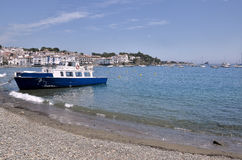 Boat at Port Cadaqués in Spain Stock Photo