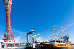 Boat with Port of Kobe Tower Royalty Free Stock Image