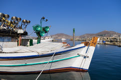 Boat at the port of Naoussa, Paros island, Cyclades, Greece Stock Image