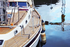 Boat in the port near the town. In Lithuania Royalty Free Stock Images