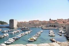 A boat port in the town of Dubrovnik Stock Photo