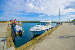 Boat port of in Ystad during summer Stock Photos