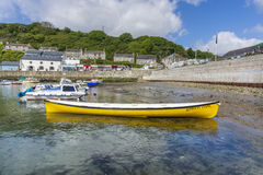 Boat in Porthlevan historic fishing port Royalty Free Stock Photos