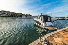 Boat in Porto Rotondo harbor Royalty Free Stock Photos
