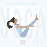 Boat Pose (Navasana) asana. Vector illustrated poster template with girl doing yoga exercises Stock Image