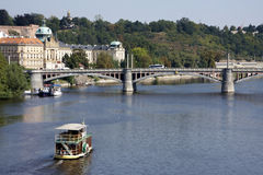 Boat in  Prague. Tourist boat in the river in Prague Stock Images