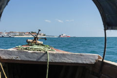 Boat from  Prison Island to Zanzibar Royalty Free Stock Photography