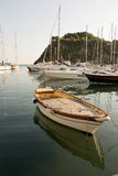 Boat in procida. Fishing boat and rope  for fishing Stock Photo