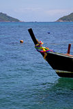Boat prow blue lagoon  stone in thailand kho Stock Image