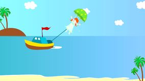 The boat pulls girl on a parachute over the sea, animation stock footage