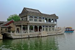 Boat of Purity and Ease. White marble pavilion The imperial summer palace beijing china Stock Images