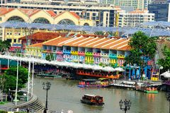 Boat Quay. Is a historical quay in Singapore which is situated upstream from the mouth of the Singapore River on its southern bank Stock Photo
