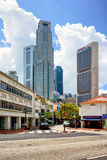 Boat Quay District and Skyscrapers in Singapore Royalty Free Stock Photos