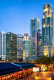 Boat Quay District and UOB building in Singapore Stock Photography