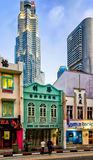 Boat Quay District and UOB Plaza in Singapore Royalty Free Stock Images