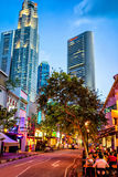 Boat Quay District and UOB Plaza of Singapore Stock Photography